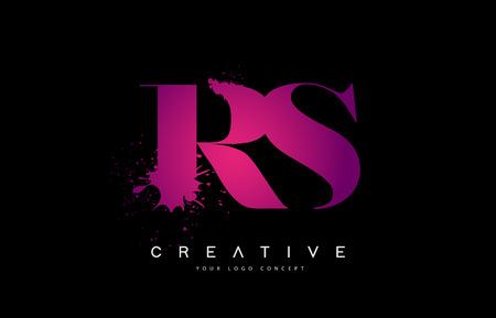 Purple Pink RS R S Letter  Design with Ink  Splash Spill Vector Illustration.