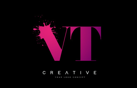 Purple Pink VT V T Letter  Design with Ink  Splash Spill Vector Illustration.