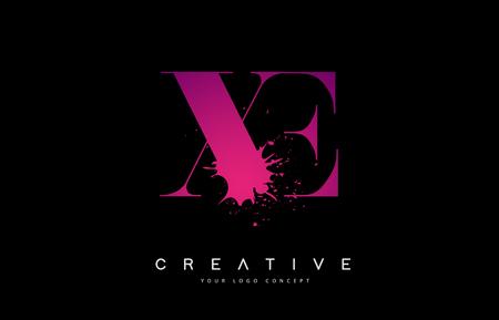 XE X E Letter  Design with Black Ink  Splash Spill Vector Illustration. Ilustração