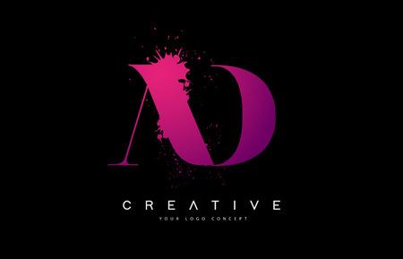 Purple Pink AD A D Letter  Design with Ink  Splash Spill Vector Illustration.