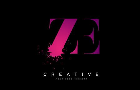 ZE ZE Letter Design mit schwarzer Tinte Splash Spill Vector Illustration.