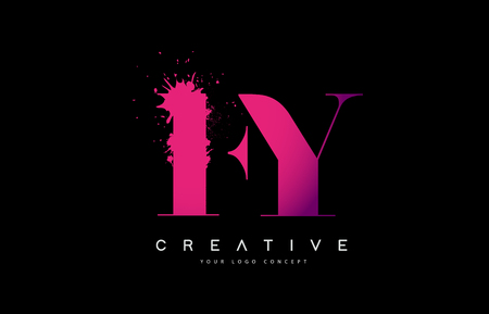 Purple Pink FY F Y Letter  Design with Ink  Splash Spill Vector Illustration.