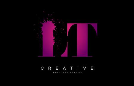 Purple Pink LT L T Letter  Design with Ink  Splash Spill Vector Illustration. Illusztráció
