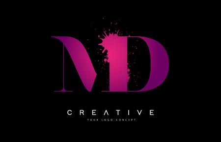 Purple Pink MD M D Letter  Design with Ink  Splash Spill Vector Illustration.