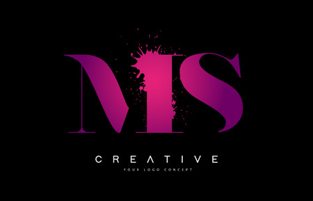 Purple Pink MS M S Letter  Design with Ink  Splash Spill Vector Illustration.