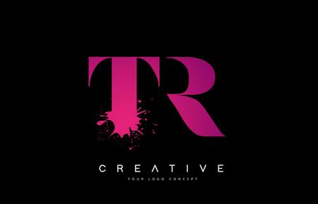 Purple Pink TR T R Letter Design with Ink Splash Spill Vector Illustration. Vektoros illusztráció