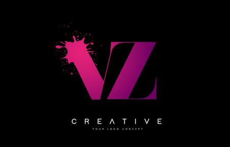 Purple Pink VZ V Z Letter Design with Ink Splash Spill Vector Illustration. Vektoros illusztráció