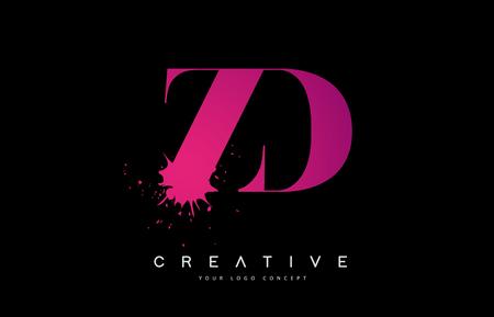 ZD Z D Letter  Design with Black Ink  Splash Spill Vector Illustration. 矢量图像