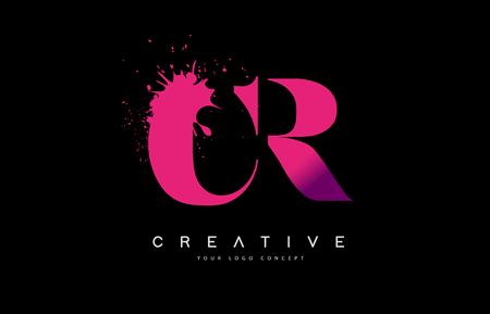 Purple Pink CR C R Letter Design with Ink Splash Spill Vector Illustration. Vektoros illusztráció