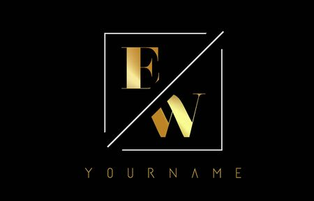 EW Golden Letter Logo with Cutted and Intersected Design and Square Frame Vector Illustration