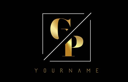 GP Golden Letter Logo with Cutted and Intersected Design and Square Frame Vector Illustration