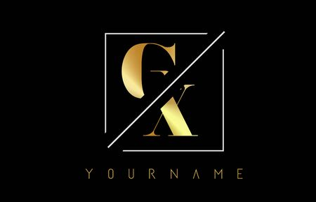 GX Golden Letter Logo with Cutted and Intersected Design and Square Frame Vector Illustration