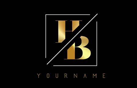 HB Golden Letter Logo with Cutted and Intersected Design and Square Frame Vector Illustration