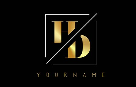 HD Golden Letter Logo with Cutted and Intersected Design and Square Frame Vector Illustration