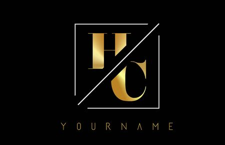 HC Golden Letter Logo with Cutted and Intersected Design and Square Frame Vector Illustration Ilustração