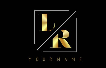 LR Golden Letter Logo with Cutted and Intersected Design and Square Frame Vector Illustration