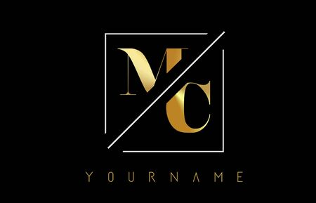MC Golden Letter Logo with Cutted and Intersected Design and Square Frame Vector Illustration