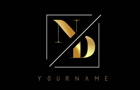 ND Golden Letter Logo with Cutted and Intersected Design and Square Frame Vector Illustration