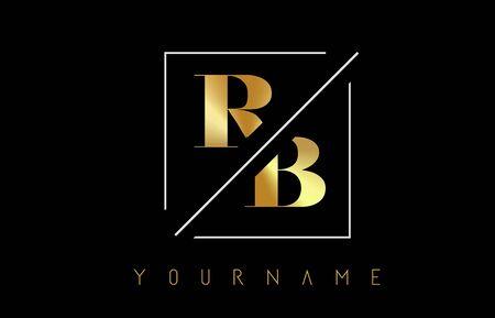 RB Golden Letter Logo with Cutted and Intersected Design and Square Frame Vector Illustration Ilustração