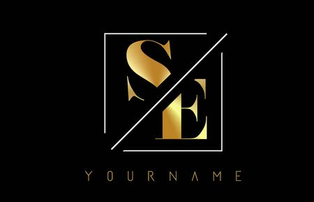 SE Golden Letter Logo with Cutted and Intersected Design and Square Frame Vector Illustration