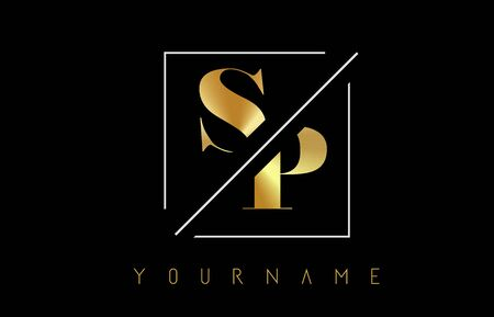 SP Golden Letter Logo with Cutted and Intersected Design and Square Frame Vector Illustration