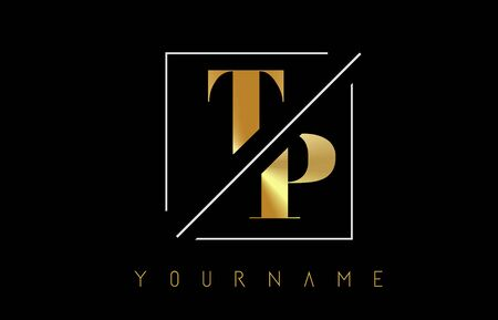 TP Golden Letter Logo with Cutted and Intersected Design and Square Frame Vector Illustration