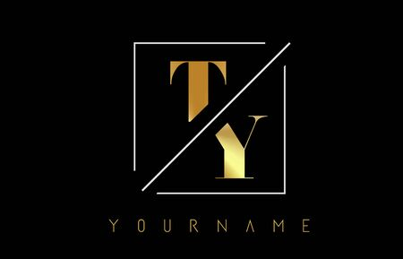 TY Golden Letter Logo with Cutted and Intersected Design and Square Frame Vector Illustration
