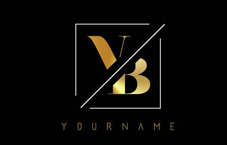 VB Golden Letter Logo with Cutted and Intersected Design and Square Frame Vector Illustration