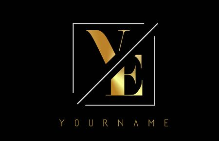 VE Golden Letter Logo with Cutted and Intersected Design and Square Frame Vector Illustration Ilustração