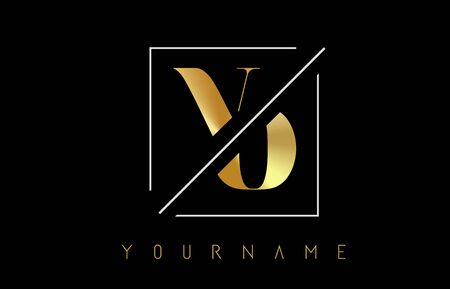 VO Golden Letter Logo with Cutted and Intersected Design and Square Frame Vector Illustration