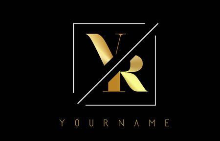 VR Golden Letter Logo with Cutted and Intersected Design and Square Frame Vector Illustration
