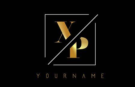 XP Golden Letter Logo with Cutted and Intersected Design and Square Frame Vector Illustration Ilustração