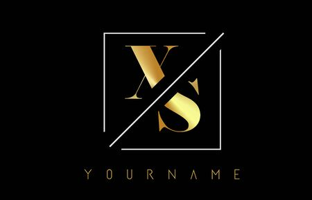 XS Golden Letter Logo with Cutted and Intersected Design and Square Frame Vector Illustration