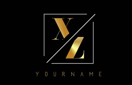 XZ Golden Letter Logo with Cutted and Intersected Design and Square Frame Vector Illustration Ilustração