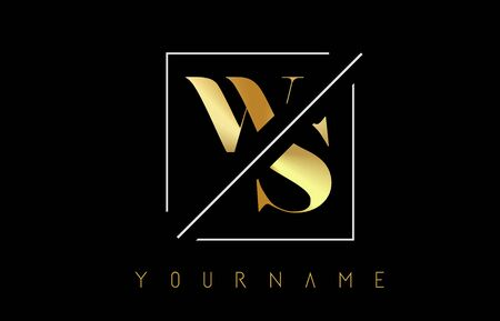 WS Golden Letter Logo with Cutted and Intersected Design and Square Frame Vector Illustration