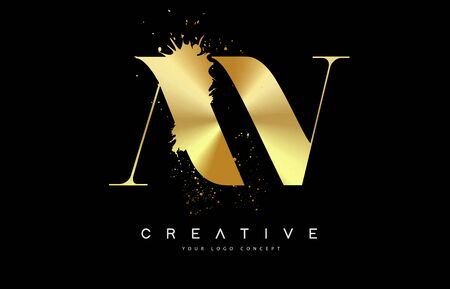 AV A V Letter Logo with Gold Melted Metal Splash Vector Design Illustration.