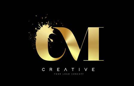 CM C M Letter Logo with Gold Melted Metal Splash Vector Design Illustration. Logó