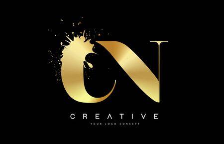 CN C N Letter Logo with Gold Melted Metal Splash Vector Design Illustration.