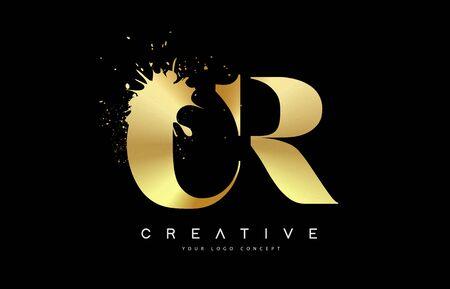 CR C R Letter Logo with Gold Melted Metal Splash Vector Design Illustration.