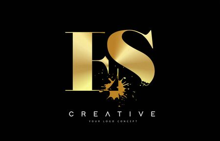 ES E S Letter Logo with Gold Melted Metal Splash Vector Design Illustration.