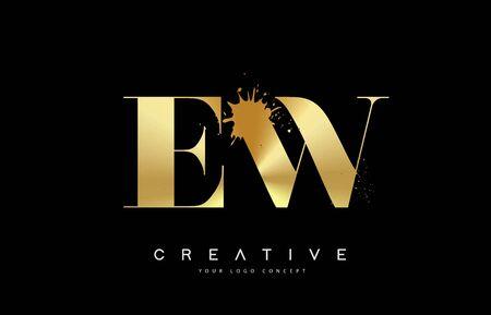EW E W Letter Logo with Gold Melted Metal Splash Vector Design Illustration. Vettoriali