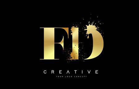 FD F D Letter Logo with Gold Melted Metal Splash Vector Design Illustration.
