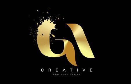 GA G A Letter Logo with Gold Melted Metal Splash Vector Design Illustration.