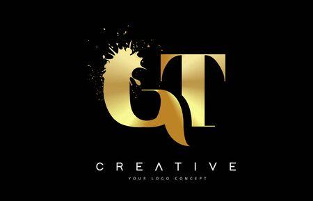 GT G T Letter Logo with Gold Melted Metal Splash Vector Design Illustration. Vettoriali