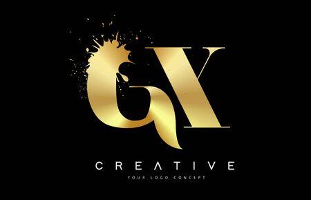 GX G X Letter Logo with Gold Melted Metal Splash Vector Design Illustration.