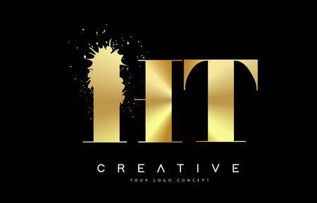 HT H T Letter Logo with Gold Melted Metal Splash Vector Design Illustration.
