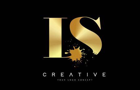 LS L S Letter Logo with Gold Melted Metal Splash Vector Design Illustration.