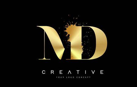 MD M D Letter Logo with Gold Melted Metal Splash Vector Design Illustration.