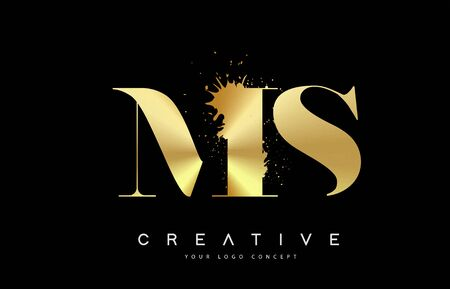 MS M S Letter Logo with Gold Melted Metal Splash Vector Design Illustration.