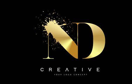 ND N D Letter Logo with Gold Melted Metal Splash Vector Design Illustration.